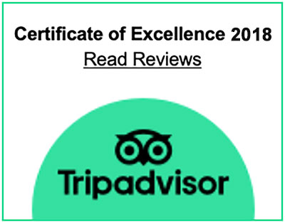 Trip Advisor Certificate of Excellence 2018